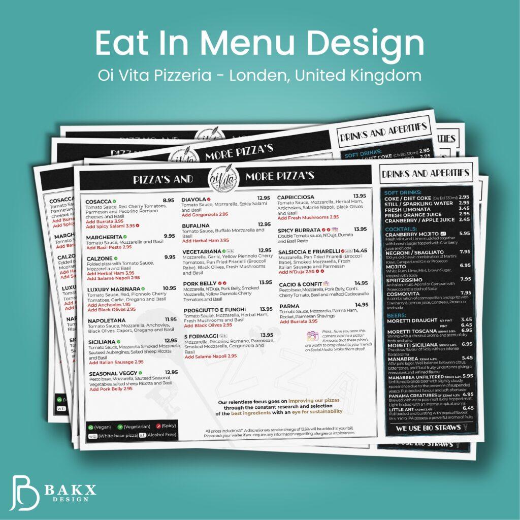 Eat In Menu Design Oi Vita Pizzeria 1